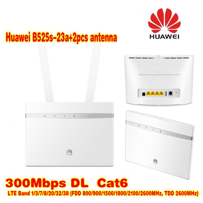 US $200 64 12% OFF|Unlock 300Mbps Huawei B525 4G LTE Cat6 CPE Wireless  Router plus 4g indoor high gain antenna-in 3G/4G Routers from Computer &  Office