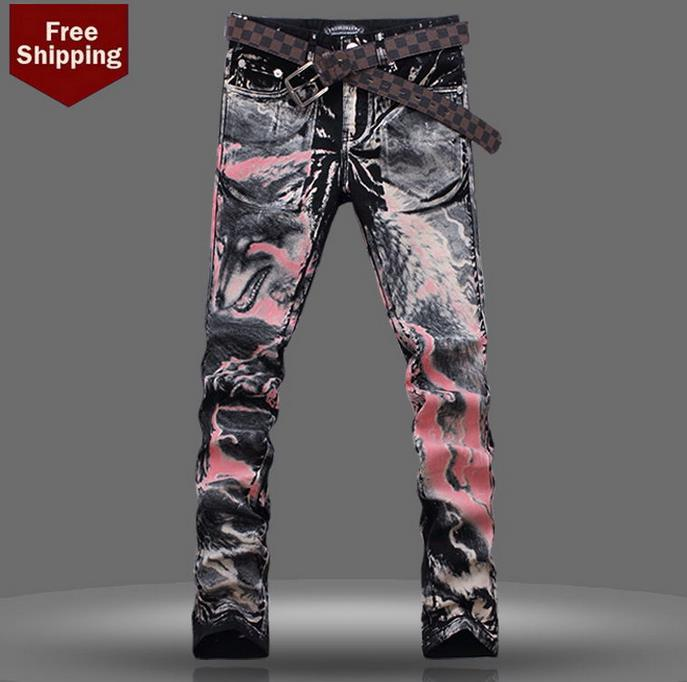 ФОТО Spring fashion black red wolf 3D dance 1 jeans men pant man denim trousers personalized modern urban straight famous brand
