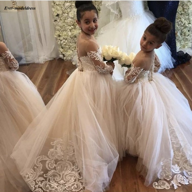 Champagne   Flower     Girl     Dresses   For Wedding 2019 Sheer Long Sleeve Ball Gown Lace Appliques Scoop   Girls   First Communion Gowns