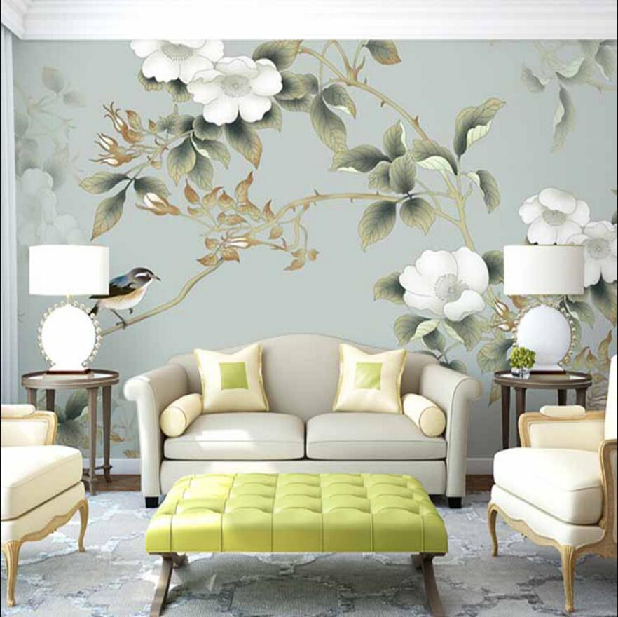 White sunflowers and birds Chinese painting designs wall mural for tv background wallpapers ruth heller s designs for coloring birds