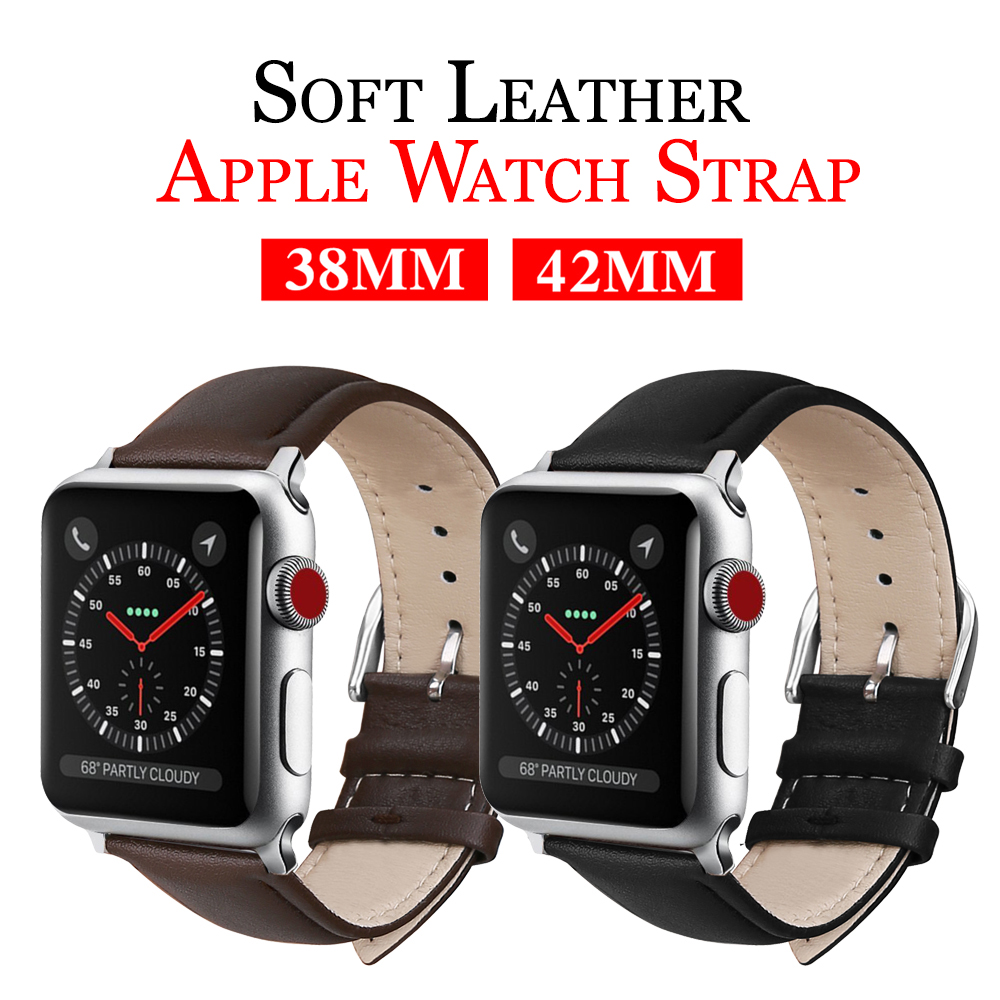 MU SEN Leather Watchb Apple watch bracelet belt black watchbands genuine leather strap watch band 38mm 42mm iwatch series 3/2/1 цена