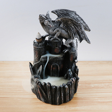 Resin Dragon Incense Burner for Smoke Backflow Like Water Streaming Down Art Craft Furnace Home Decor + 10 x Cones