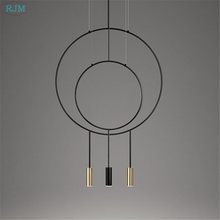 Nordic Designer Creative Circular Pendant Light Postmodern Metal Restaurant Hang Lamp Study Bedroom Bar Garment Shop Lighting