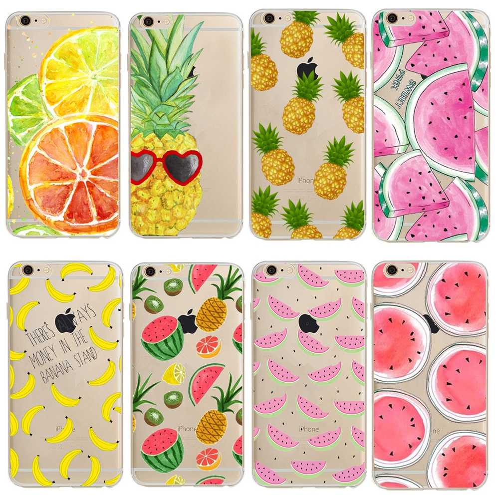Case Voor apple iPhone 4 4S 5 5S SE 5C 6 6s 7 8 Plus X XS 11 Pro Max XR Soft TPU Fruit Pine apple Lemon Banaan Telefoon Gevallen