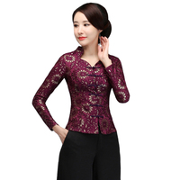Autumn Winter Chinese Novelty Women Shirt Vintage Floral Handmade Button Blouse Slim Lace Thick Tang Clothing