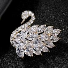 3 Colors Luxury Zircon Cute Crystal Swan Brooches for Women Elegant Scarf Pins Dress Wedding Corsage Pin Fashion Jewelry broche crystal sunflower brooches lapel pins for women corsage scarf dress decoration
