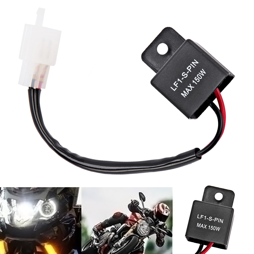 Waterproof 2-Pin Electronic LED Flasher Relay Fix Turn Signal Light Bulbs Hyper Flash for Auto Car Motorcycle