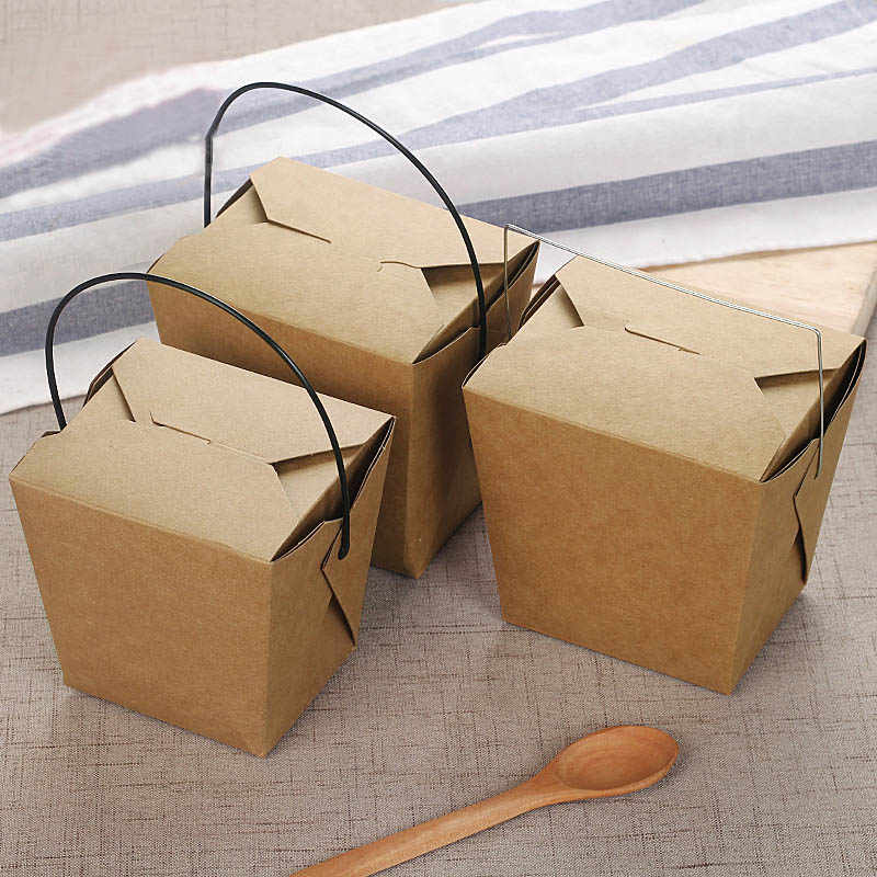 40pcs Disposable Kraft Paper Box Portable Handle Fried Food Cup Take Away Chicken Holder Chips Cups Restaurant Package Tools