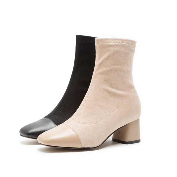 MLJUESE 2018 kadın yarım çizmeler Çocuk Süet kayısı renk kare ayak karışık renkler kış kısa peluş kadın çizmeler boyutu 34- 40