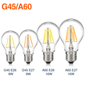 TSLEEN E27 E26 Edison Dimmable Filament LED Bulb Vintage Round Light G45/A60 Lamps Energy-saving Soft Lighting