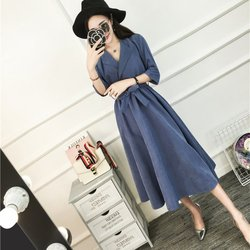 Ladies Belt Half Sleeve Dresses Elegant Vestidos Clothing Femme Beach Party Dress Women Spring Dress Y6 3