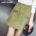Outono inverno moda vintage o emblema das mulheres pacote de cintura alta midi saia senhora mulheres bordado uma linha saia b6n5154y