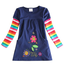 2018 baby girl long sleeve dress fashion print flowers pattern dots and striped sleeve kids dress cotton girls children clothing kids striped and star flag print vest dress