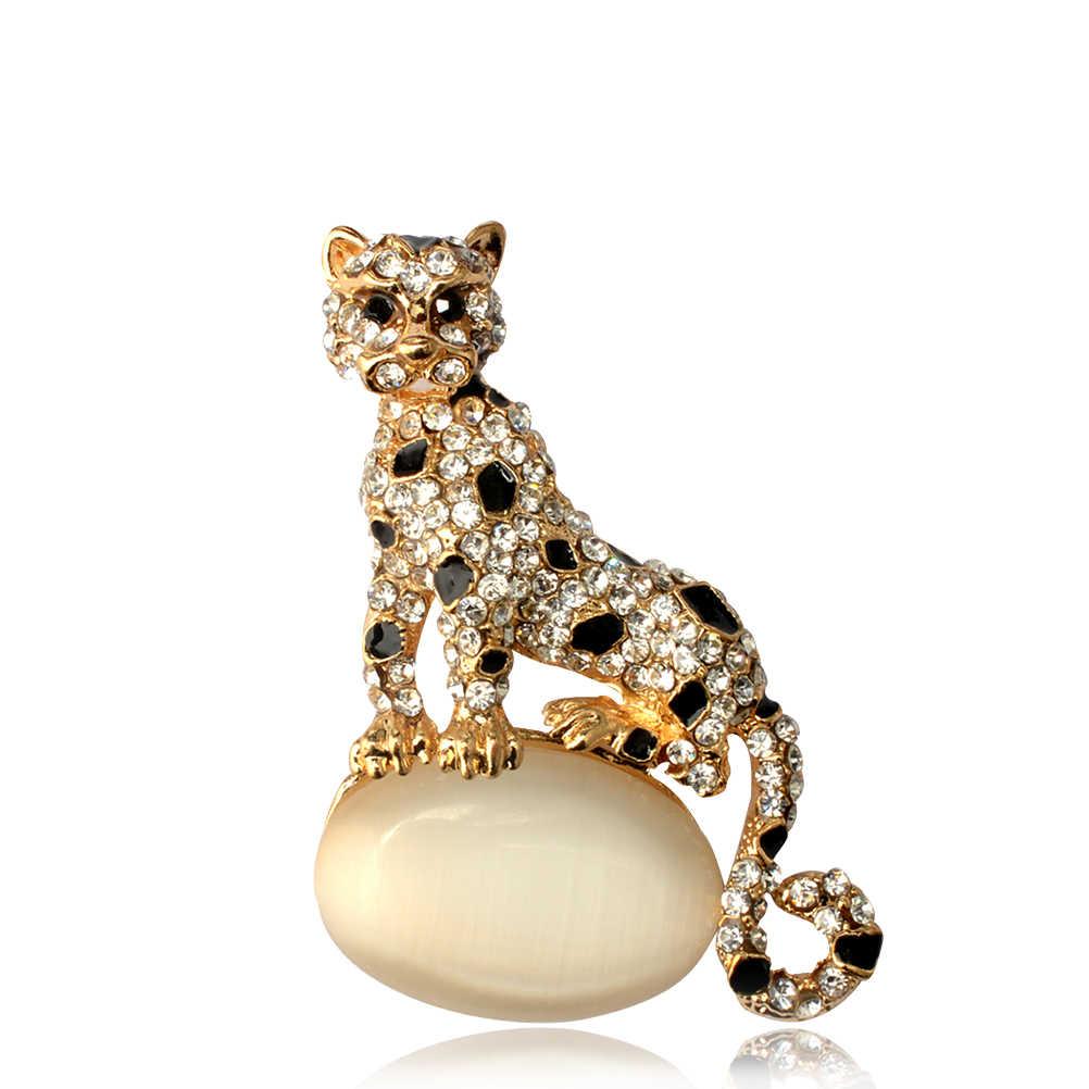 1 PC Acessórios Breastpin Broches Traje Requintado Encantador de Animais Em Forma de Strass e Liga Pinos Broche Leopardo (Dourado)