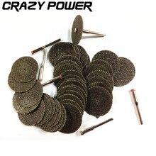 CRAZY POWER 32Pcs/Set 32*2mm Mini Dremel Rotary Tool Metal Cutting Disc Accessories Circular Saw Blade Witn 3PCS Connecting Robs