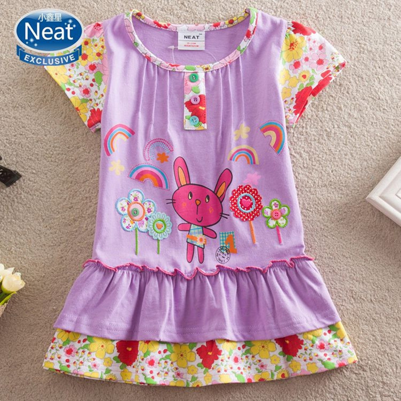 купить Baby girl dress NEAT o-neck cotton girl clothes cute print mouse pattern kid dress flower princess girl short sleeve dress S2120 недорого