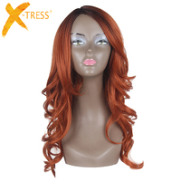 Loose Wave Synthetic Wigs With Bangs Side Part X TRESS Ombre Auburn Pink Blonde Color Hairpiece Heat Resistant Fiber Hair Wig