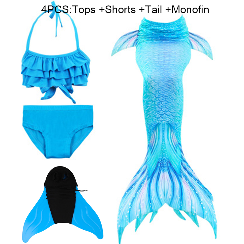Fancy Mermaid Tails Costume With/No Fins Monofin Flipper Mermaid Swimming Tails For Kids Girls Summer Beach Swimsuits C46235CH