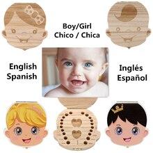 2 Цветов Зуб Организатор Коробка для Ребенка Молочные Зубы Сохранить деревянная Коробка Для Хранения для Детей Мальчик и Девочка Английский Испанский Ящики Для Хранения D13