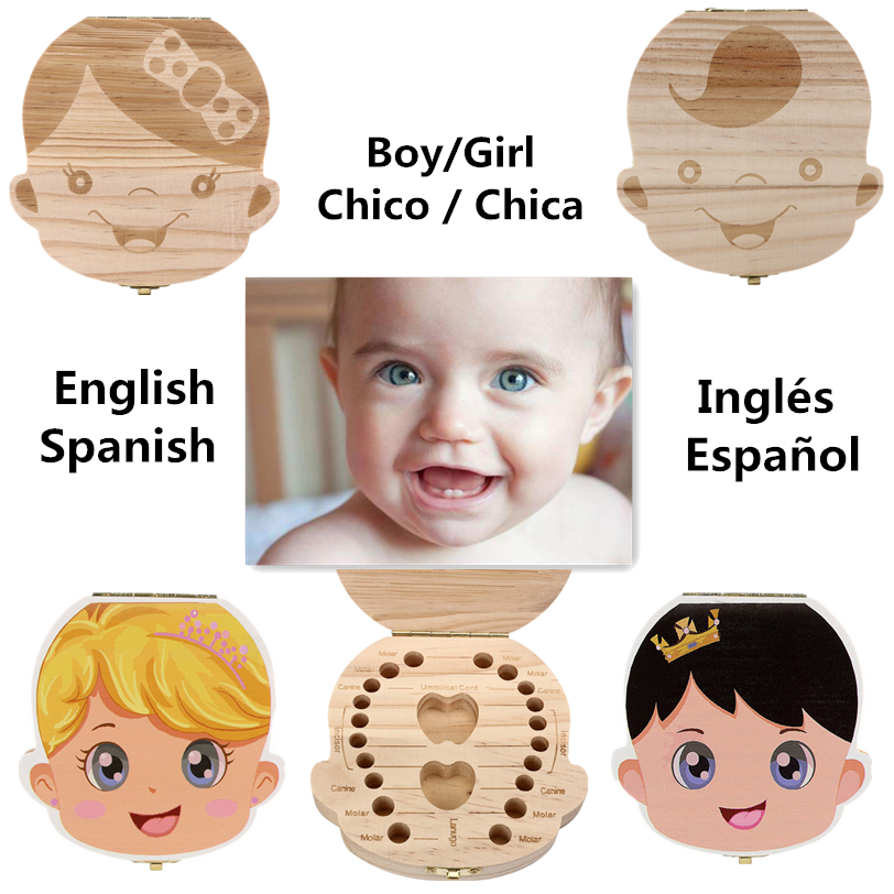 English/ Spanish Language Wood Tooth Box Organizer Save Milk Teeth Wood Storage Collecting Teeth Gifts Umbilical Cord Lanugo D13
