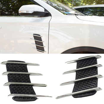 2 sztuk samochodów boczne błotnik zewnętrzne dekoracyjne chromowane DOPŁYW POWIETRZA odświeżacz powietrza przepływu kratka nadające się do Benz Audi Ford samochodu VW stylizacji akcesoria tanie i dobre opinie Stylizacja listwy Cherk 0inch 2017 ABS Rubber 0 5kg universal