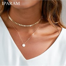 IPARAM Bohemian Golden Coin Multilayer Necklace 2019 Retro Layered Handmade Woman Choker Collar Necklace Jewelry Gift(China)