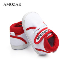 Newborn Baby Shoes Unisex First Walker Print I love Mom Baby Infant Toddler Kids Baby Boys Girls Soft Sole Canvas Sneaker