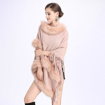 Women Faux Fur Bat Sleeve Ponchos And Capes Round-Neck Knit Sweater Women  Sweaters And Pullovers Faux Fur Coat Wedding