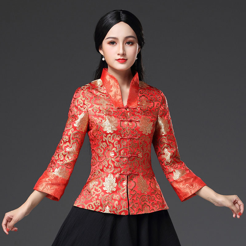 New Lady Satin Shirt Tops Chinese Women Traditional Vintage Blouse Flower Clothing Spring Long Sleeve Clothes Plus Size S-3XL