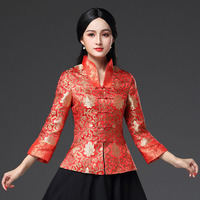 New Lady Satin Shirt Tops Chinese Women Traditional Vintage Blouse Flower Clothing Spring Long Sleeve Clothes Plus Size S 3XL