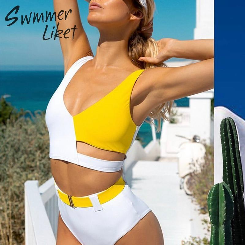 Leopard print bikini set V-neck swimsuit female Summer bathing suit Push up bikini 2019 Sexy bathing suit Patchwork biquini new