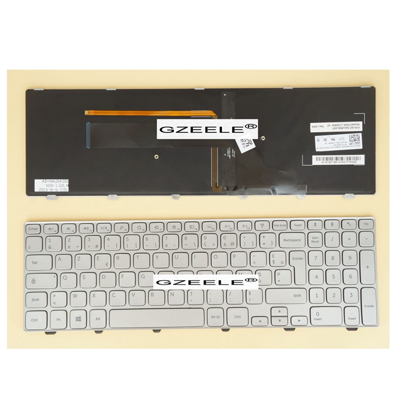 GZEELE NEW for Dell Inspiron 15 7000 7537 Laptop Keyboard WITH Backlit SILVER 15-7000 15-7537 P36F French Clavier FR replacement