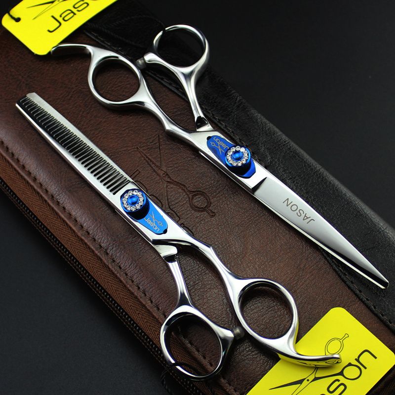 2 Scissors+Bag+2Comb Japan High Quality JASON 6.0 Inch Professional Hairdressing Scissors Hair Cutting Barber Shear Set Salon