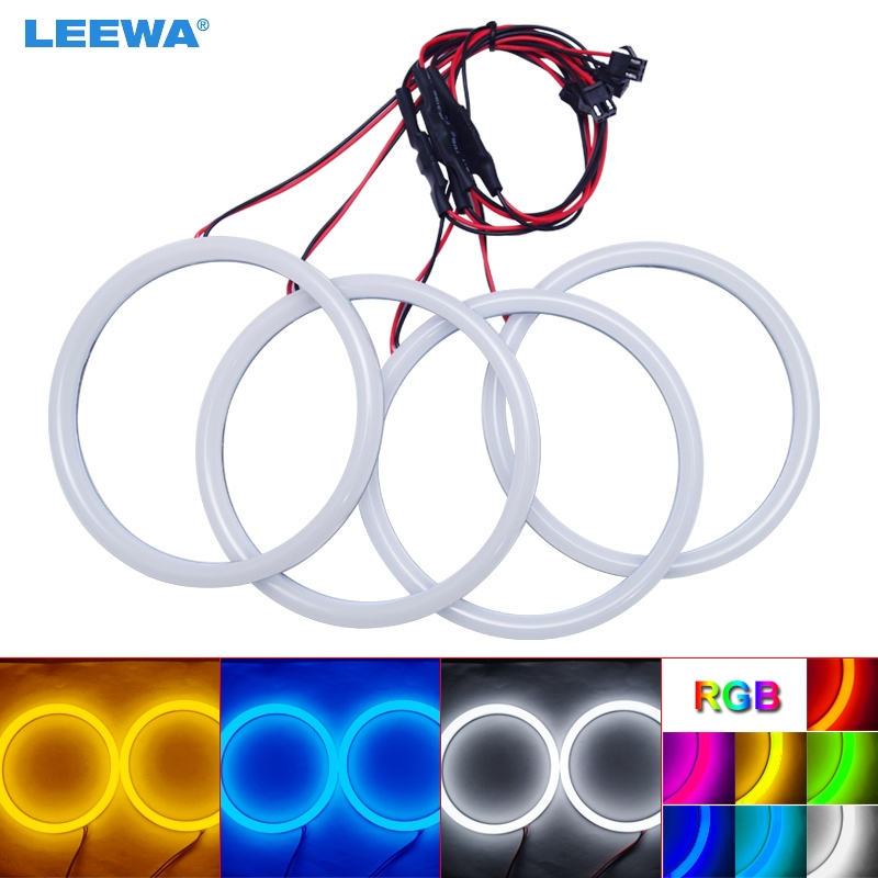 LEEWA 4X120mm Car Auto Halo Rings Cotton Lights SMD LED Angel Eyes for BMW E30/E32/E34 DRL Light White/Blue/Yellow/RGB #CA4615 3014 smd led ring halo lights 72mm 80mm 90mm 105mm 120mm 125mm 140mm xenon white blue green red angel eyes auto led headlight