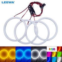 LEEWA 4X120mm Car Auto Halo Rings Cotton Lights SMD LED Angel Eyes for BMW E30/E32/E34 DRL Light White/Blue/Yellow/RGB #CA4615