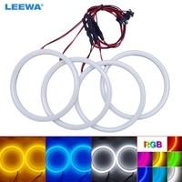 LEEWA 4X120mm Car Auto Halo Rings Cotton Lights SMD LED Angel Eyes for BMW E30/E32/E34 DRL Light White/Blue/Yellow/RGB #CA4615