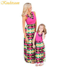 Kindstraum Summer Mother Daughter Dress Cotton Family Matching Clothes Sleeveless Women Girl Dresses Family Look Outfits, MC602