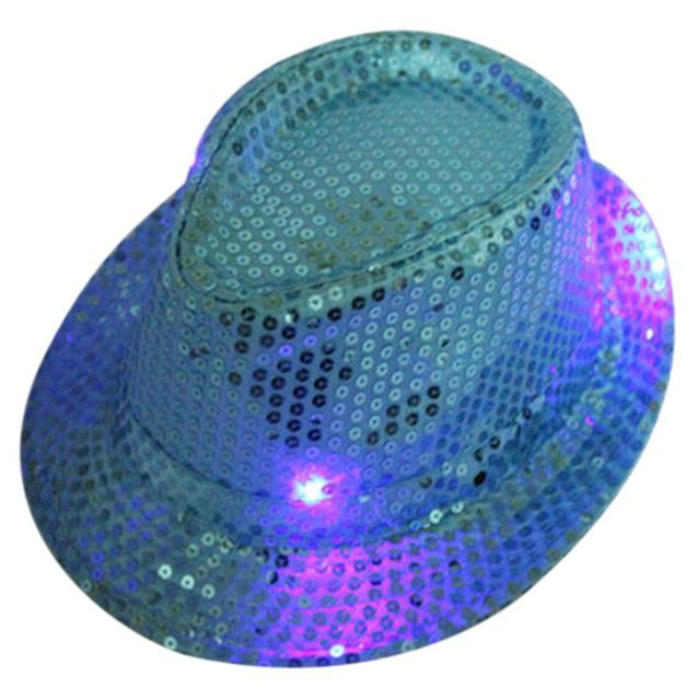 3479e4c4782 NEW LED Light up luminous sequin Fedora Hats for Party Show Stage Colorful cowboy  hat prom dress hat props free shipping