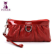 FOXER Women's Genuine Leather Zipper Clutch Wallet  & Purse Lady long Wallets Mobile phone storage bag Female purses