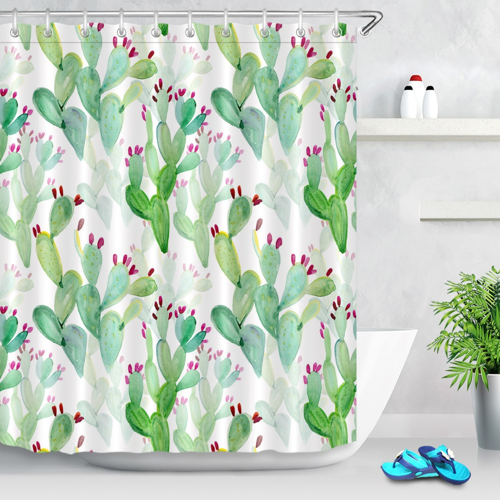 Tropical Summer Flowers Cactus Shower Curtain Waterproof Fabric Bathroom Hooks