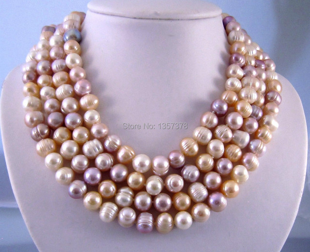 """huij 002823 GENUINE FRESH WATER PEARLS BIG NECKLACE!10MM68""""LAVENDER,WHITE,GREY,PEACH NATURAL"""