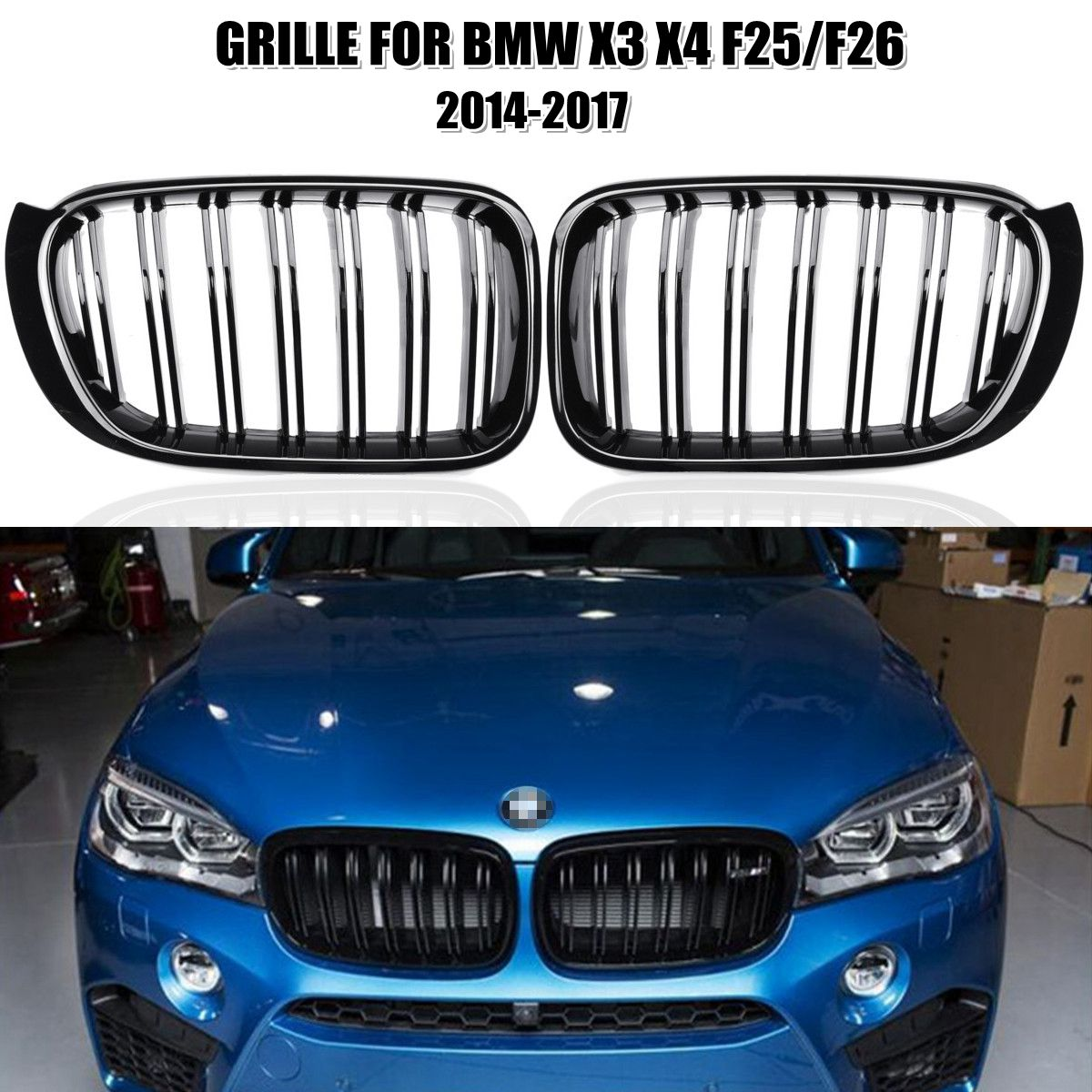 2Pcs M Style Car Front Kidney Grill Grille Gloss Black for BMW X3 X4 F25/F26 2014 2015 2016 2017
