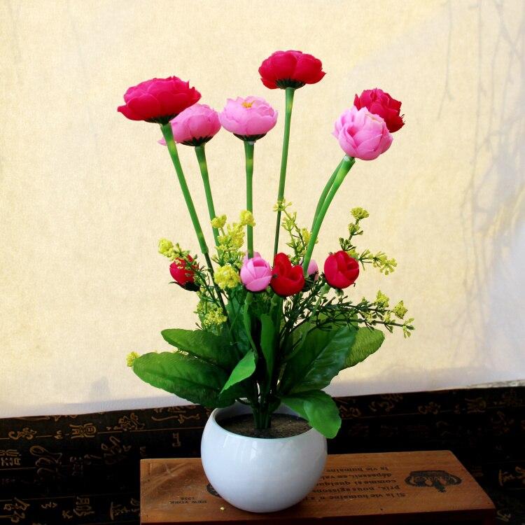 КСКСКСГ вештачки сакс за цвеће са цвећем постављен за мале кућне декор бонсаи дневни боравак ТВ ормар.