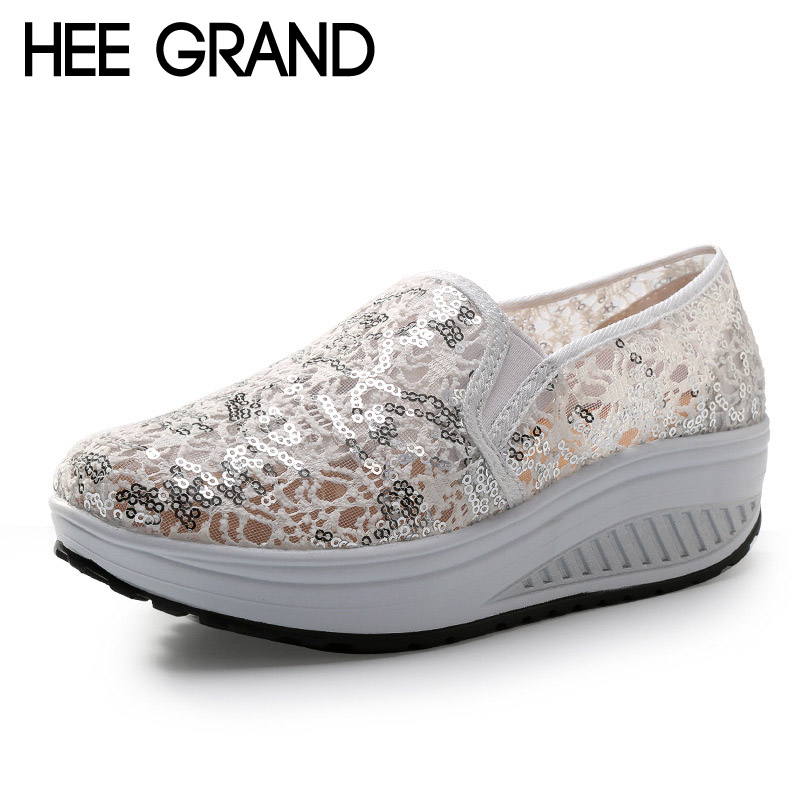 HEE GRAND Bling Glitter Lace Loafers Spring Casual Platform Shoes Woman Summer Creepers Slip On Comfortable Flats XWC446 hee grand 2017 creepers summer platform gladiator sandals casual shoes woman slip on flats fashion silver women shoes xwz4074