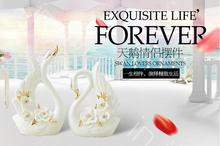 Practical home decoration european-style living room craft ceramic swan presents a wedding gift.