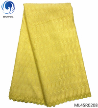 BEAUTIFICAL yellow lace fabric polyester african fabrics latest quality 5yards/piece for man/woman ML45R02