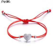 5d9040f432cc Pipitree CZ piedra pavimentada pulsera del corazón del amor para las  mujeres amantes hilo rojo ajustable pareja pulseras regalo .