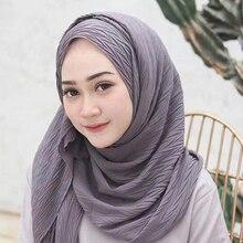 85*180cm muslim women bubble chiffon crinkle hijab scarf femme musulman plain shawls and wraps islamic headscarf malaysia