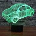 Colorful Beetle Carro 3D Levou Noite Luz Novidade Lâmpada de Humor para o Feriado 3D USB Lâmpada 7 Cores Mudando Como Presente para As Crianças Amigos Menino