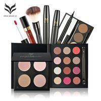 HUAMIANLI Make-Up Set Augenbraue Pulver Lipgloss Eyeliner Bush Pinsel Mascara Lidschatten 7 Stücke Kosmetische Kombination L3